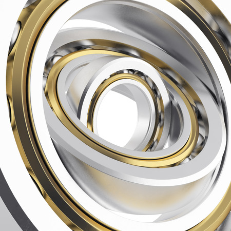 whirling: Isolated realistic whirling bearing in the bearing with light scratches
