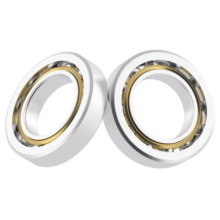 bearing: Two isolated realistic bearing on a white background with light scratches. High resolution 3d