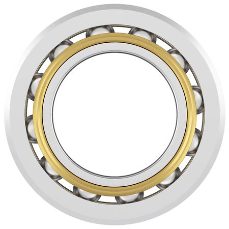 friction: Isolated realistic bearing on a white background with light scratches. Front view Stock Photo