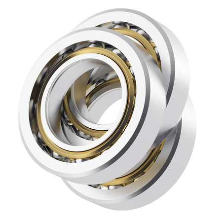 three angled: Three isolated realistic angled bearing on a white background with small scratches