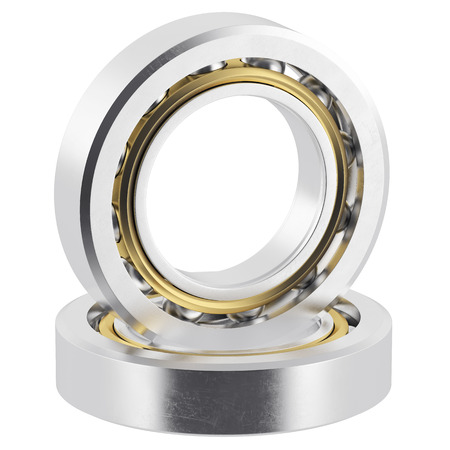 friction: Isolated realistic bearings on a white background with light scratches