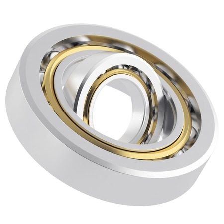 whirling: Isolated realistic whirling bearing in the bearing with light scratches on a white background