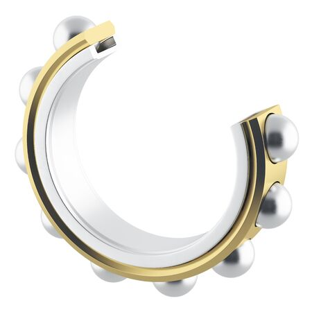 bearing: Isolated realistic bearing section on a white background with light scratches