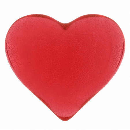 gladness: Cracked heart of red glass on a white background.