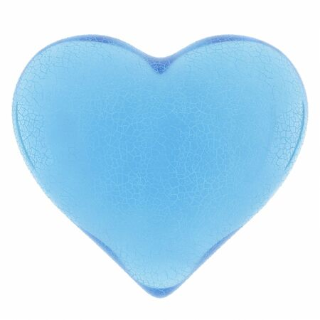 heart and wings: Cracked heart of blue glass on a white background. Stock Photo