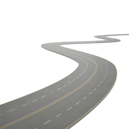3d illustration of a curving, bending road, isolated on white background Stock Photo