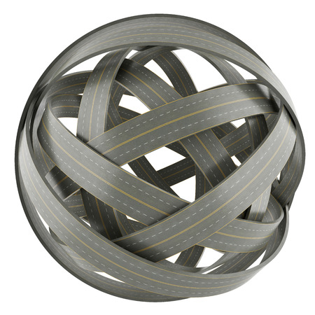 disorganized: 3d abstract sphere of tangled roads, isolated on white background Stock Photo