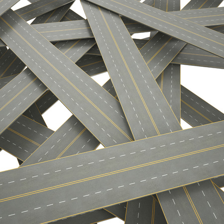 complex system: 3d illustration tangled, crowded, chaotic roads Stock Photo