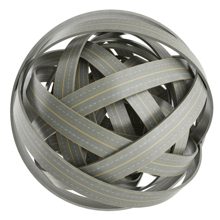 tangled roads: 3d abstract sphere of tangled roads, isolated on white background Stock Photo