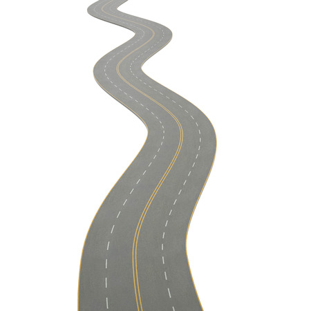 curving: 3d illustration of a curving, bending road, isolated on white background Stock Photo