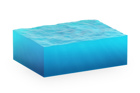 isolated cube of water on a white background