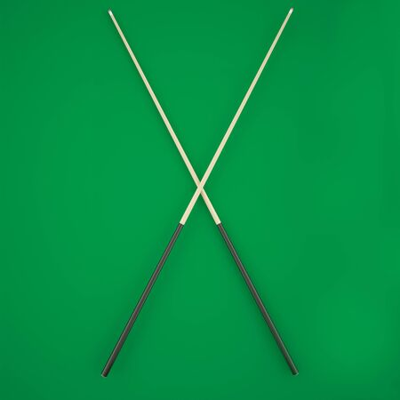 cue: Crossed cue on a green billiard table. 3d illustration