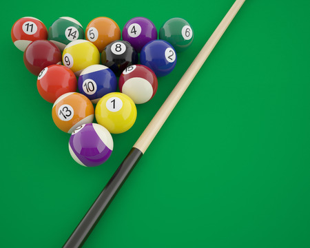 cue: Billiard balls with cue on a green table. 3d illustration Stock Photo