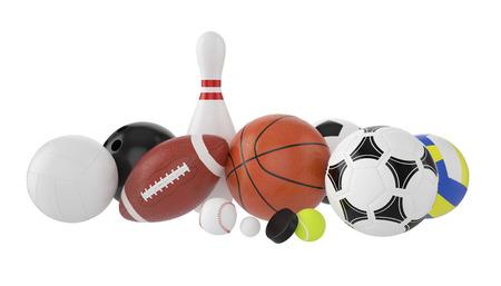 Conjunto de bolas de los deportes, fútbol, ??baloncesto, bolos, rugby, tenis, voleibol, hockey, béisbol, billar, golf, tejo. 3d ilustración Foto de archivo - 38077132