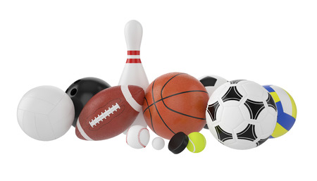 Set of sports balls, soccer, basketball, bowling, rugby, tennis, volleyball, hockey, baseball, billiards, golf, puck. 3d illustration