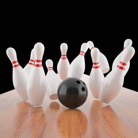 floor ball: a bowling ball hitting the pins on the wooden floor. 3d illustration Stock Photo
