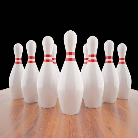 destroying the competition: Illustration of bowling pins on a wooden floor. 3d Stock Photo