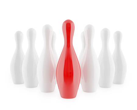 destroying the competition: Bowling pins isolated on white background. 3d illustration