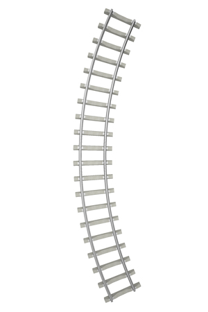 converge: Curved railway isolated on white background, top view. 3d illustration Stock Photo