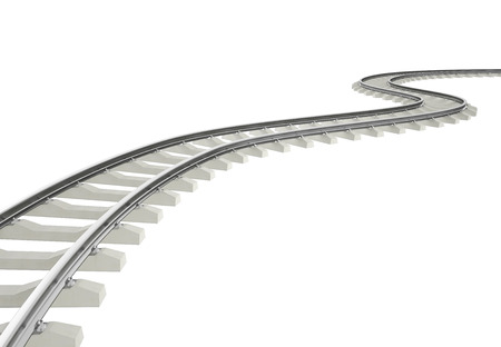 Illustration bend, turn railway isolated on white background. 3d Archivio Fotografico