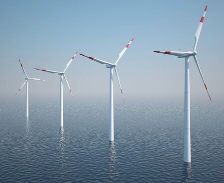 Wind turbines on the ocean with blue sky. 3d illustration
