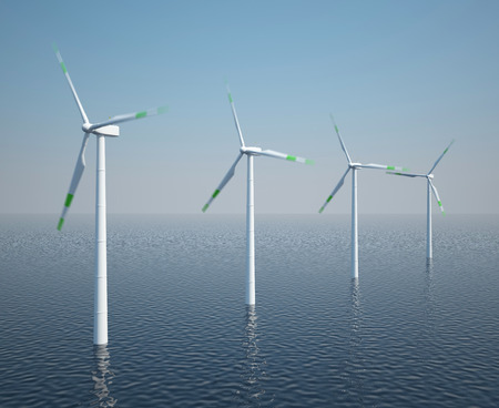 kinetic: Wind turbines in motion on the ocean with blue sky. 3d illustration