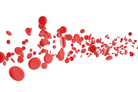 ZELLEN: 3D-Darstellung von roten Blutk�rperchen auf wei�em Hintergrund