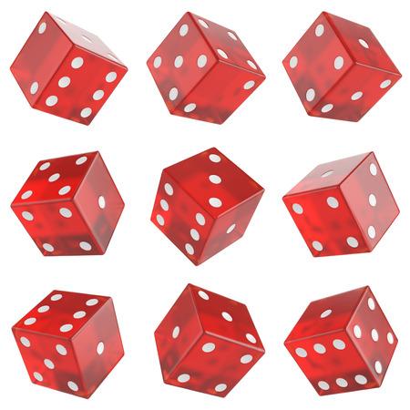dados: conjunto de cristal rojo dados aislados sobre fondo blanco.