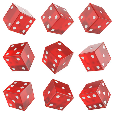 rolling dice: set of red glass dices isolated on white background.