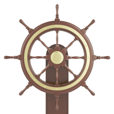 starboard: Ship wheel Isolated on white background. 3d illustration Stock Photo