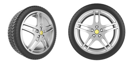 tire cover: Set of car wheels isolated on white background