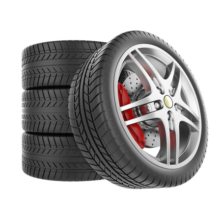 Sports car wheels isolated on white background Archivio Fotografico