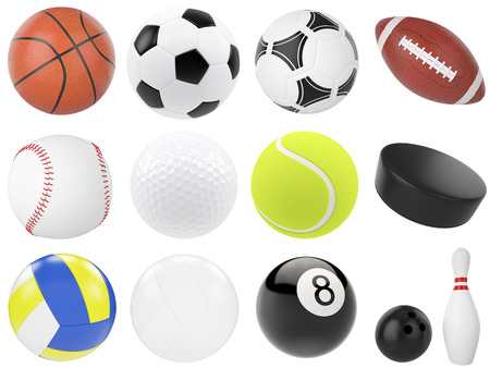 Set van sport ballen, voetbal, basketbal, bowling, rugby, tennis, volleybal, hockey, honkbal, biljart, golf, puck. 3D-afbeelding hoge resolutie Stockfoto