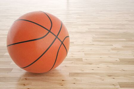 木の床でバスケット ボールのイラストです。3 d の高解像度画像 写真素材
