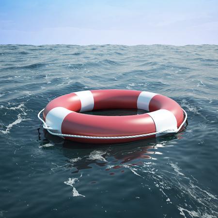 Lifebuoy im Meer, der Ozean. 3D-Illustration hohe Auflösung