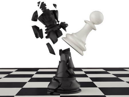 3d illustration, won a pawn king. King of the head are broken Stok Fotoğraf