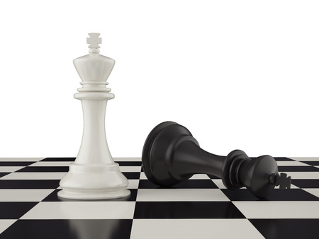 defeated: Defeated black king on the chessboard. 3d illustration Stock Photo