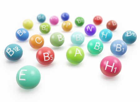 dietetical: Colorful vitamins with shadows in the form of capsules isolated on white background. 3d illustration