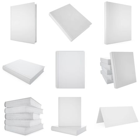 mag: Set, collection white blank book. 3d illustration