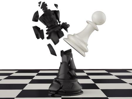 3d illustration, won a pawn king. King of the head are broken Standard-Bild