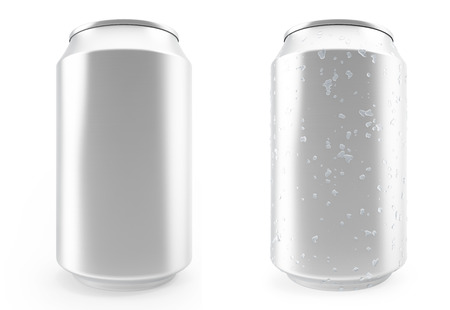 Set aluminum cans, wet with drops and without, isolated on white background.