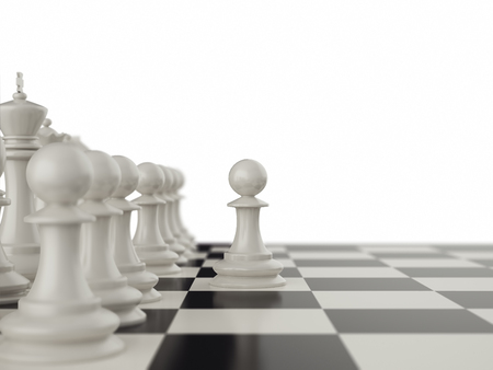 first move: First move the pawns on a chessboard. 3d illustration