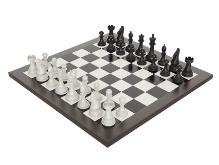 3d illustration of chess on chessboard Stock Photo