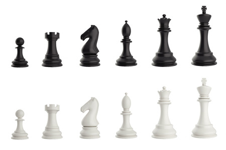 shah: Set of black and white chess pieces. 3d illustration Stock Photo