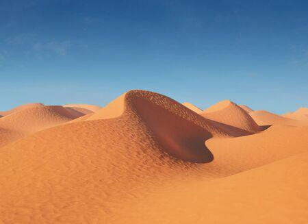 desierto: Ilustración de dunas de arena en el desierto. En un día soleado muy caliente. Ilustración 3D de alta resolución