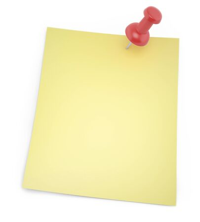 thumbtack: Blank paper for notes with shadows thumbtack isolated on a white background. 3d illustration