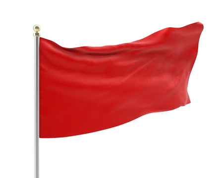 developing: 3d illustration of an empty developing red flag in the wind isolated on white background. High-resolution image Stock Photo