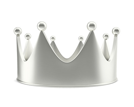 majesty: Silver crown with shadow isolated on white background. 3d illustration High resolution
