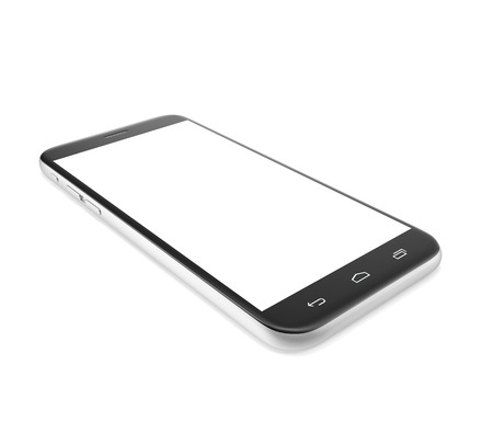 Smartphone cell phone with a blank screen isolated on white background with shadow. 3d illustration High resolution