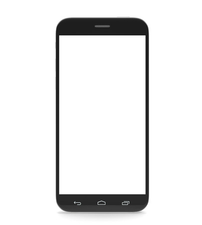 Smartphone, cell phone, with a blank screen isolated on white background with shadow. 3d illustration High resolution Standard-Bild